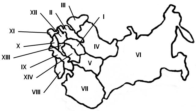 Схема экономических районов России, конец XIX в.)